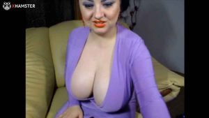 BBW CamGirl with stunning tits in live sex show with client